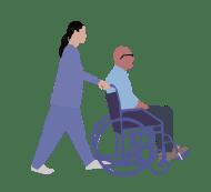 Grafik einer Frau die einen Mann im Rollstuhl schiebt
