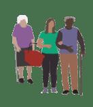 Grafik junge Frau hilft zwei alten Menschen