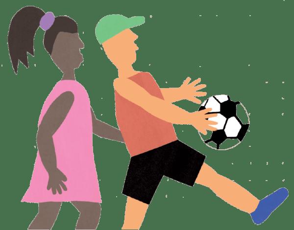 Illustration: zwei Menschen spielen Fußball