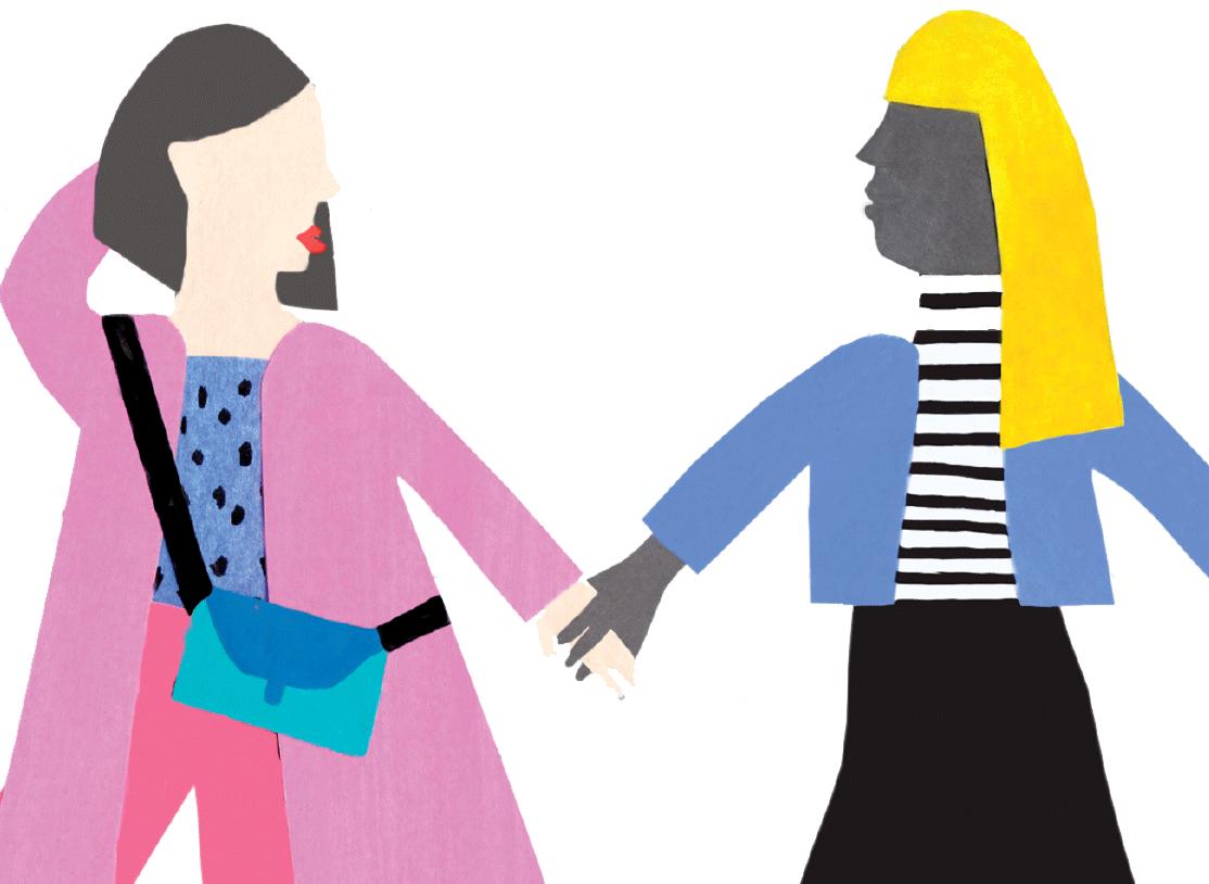 Illustration von zwei Frauen, die sich an den Händen halten