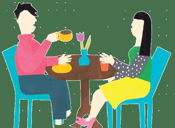 Illustration von zwei Menschen, die Kaffee am Tisch trinken
