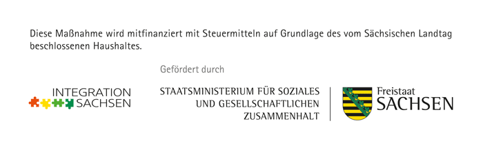 Förderlogos Integration Sachsen, SMS, Freistaat Sachsen
