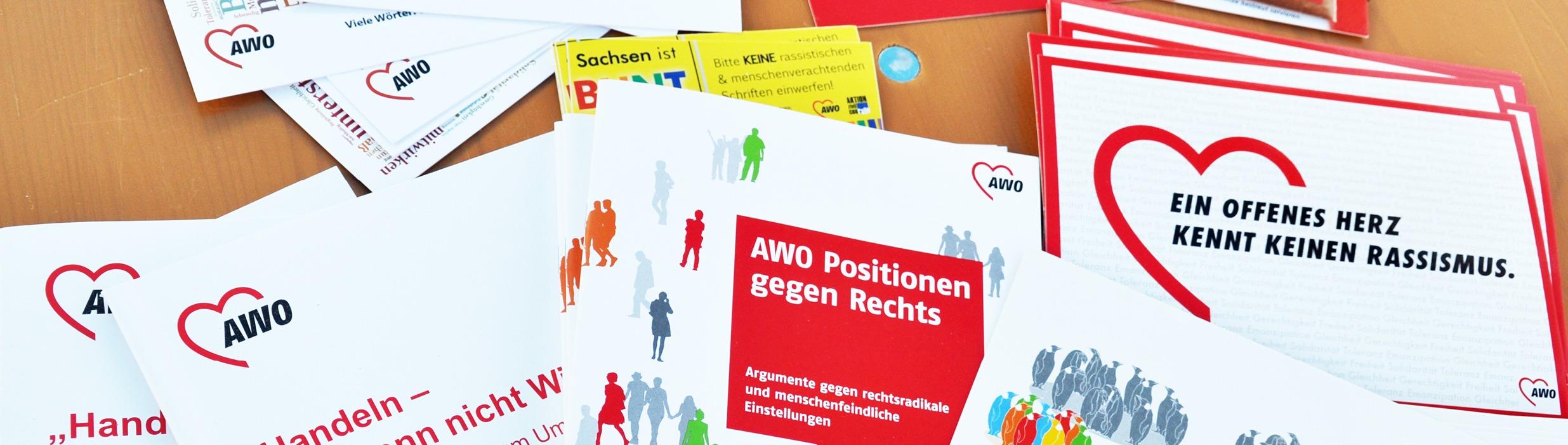 Materilaien der AWO Sachsen die für Demokratie werben