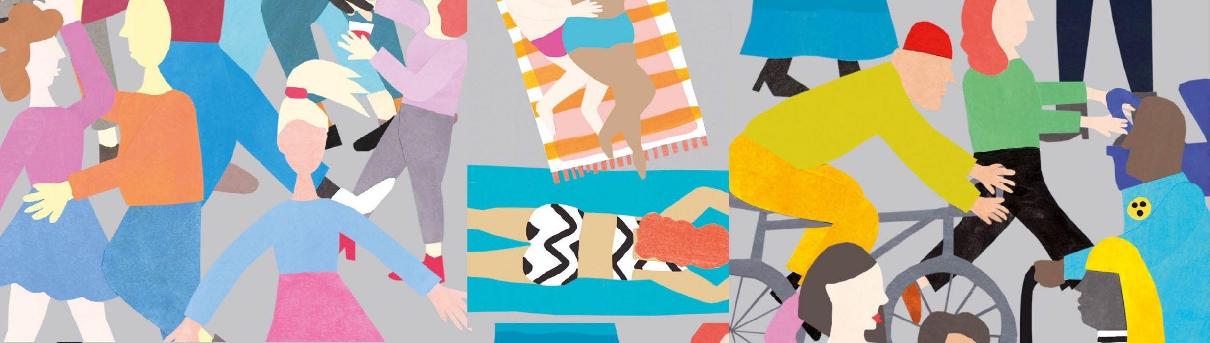 Banner aus bunte Illustrationen, wo verschiedene Menschen abgebildet sind.