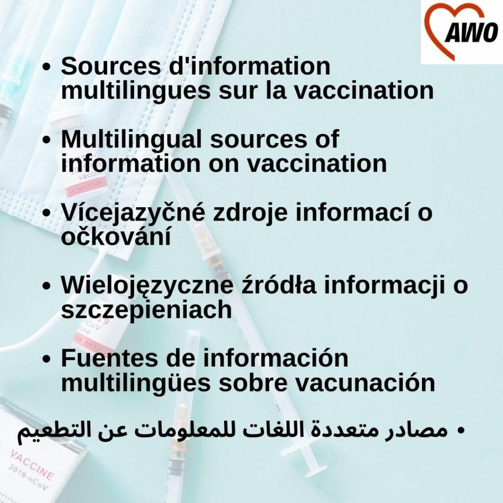 Der Satz Informationen zum Impfen in verschiedenen Sprachen