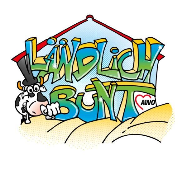 """Logo Projekt """"ländlich Bunt"""" mit Bunti, eine Kuh in Comics Stil."""