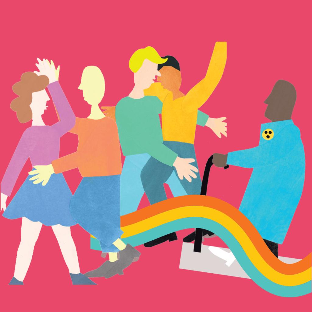 Illustration, die mehrere diverse Menschen auf einem rosa Hintergrund und einen vorbeiziehenden Regenbogen zeigt