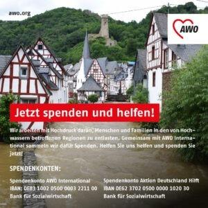 Spendenaufruf, im Hintergrund Häuser, die im Wasser versinken