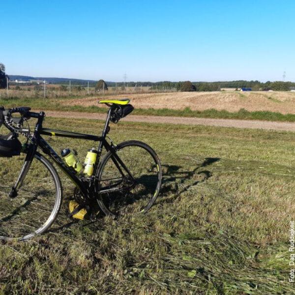 Mit dem Fahrrad auf der Wiese